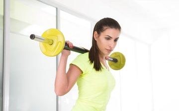 girl, look, yellow, fitness, training, workout, dumbbell