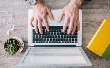 руки, пальцы, ноутбук, пальцев, записные книжки