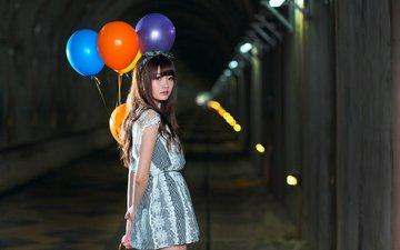 платье, модель, азиатка, воздушные шарики, розовая помада