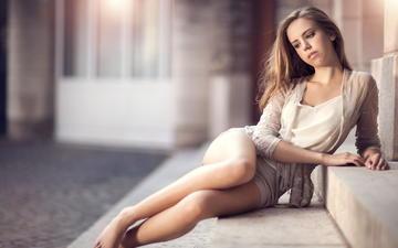 взгляд, красавица, ножки, фотограф, ступени, сидя, maarten quaadvliet