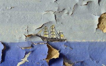 обои, корабль, стена