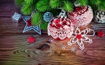 новый год, украшения, снежинки, ветки, шарики, игрушки, звездочки, шишки, иголки, мишура, еловые ветки