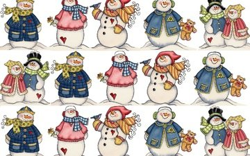 новый год, настроение, снеговик, праздник, снеговики