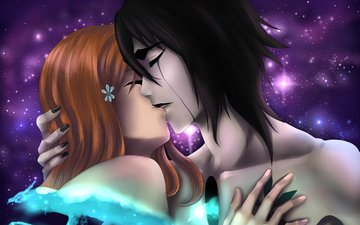 art, girl, guy, love, kiss, hugs, bleach, ulquiorra schiffer, limonade gaby, inoue orihime, espada