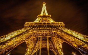 ночь, париж, франция, эйфелева башня, эйфелева башня