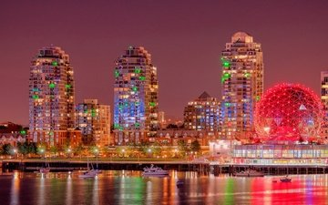 yachts, panorama, night city, promenade, vancouver, building, canada, british columbia, burrard inlet, bay burrard