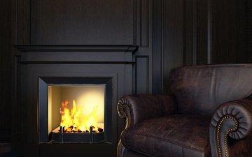 стиль, камин, диван, комфорт, дымоход, в стиле