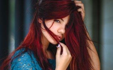 глаза, девушка, портрет, взгляд, рыжая, волосы, милая, красивая, шатенка, delaia gonzalez, gевочка, модел