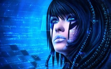 art, girl, fiction, look, face, technology, sci-fi