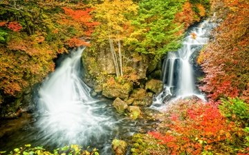 скалы, пейзаж, водопад, осень, япония