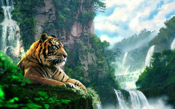 тигр, арт, лес, пейзаж, гора, водопад