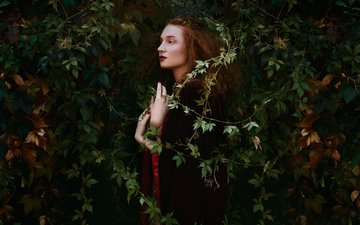 leaves, girl, profile, makeup, bella kotak