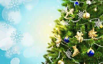 новый год, елка, шары, украшения, снежинки, фон, ветки, блики, игрушки, праздник, новогодняя