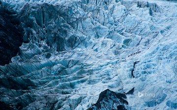 пейзаж, склон, лёд, новая зеландия, путешественники, ледник франца-иосифа, альпинисты