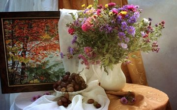 картина, виноград, осень, букет, натюрморт, астры, цинния