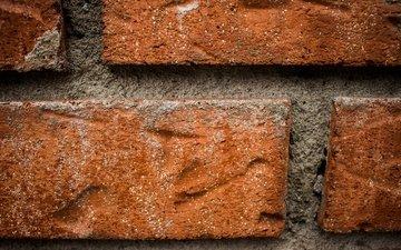 стена, красный, кирпич, цемент