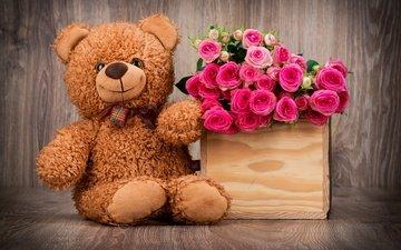 обои, любовь, роз, плюшевый медведь, букет красивых цветов, романтические