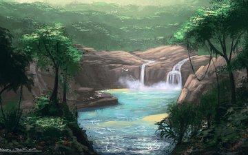 деревья, река, природа, пейзаж, водопад, живопись