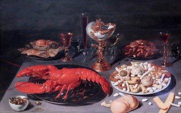 картина, osias beert, натюрморт ас homard, натюрморт с омаром, 1624, брюссель