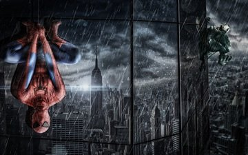 reflection, rain, the building, windows, costume, web, the shower, hanging, venom, spider-man