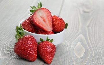 ягода, клубника, стол, чашка, земляника, дерева, кубок, настольная