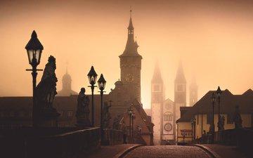 туман, мост, замок, город, башни, прага