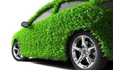grass, green, white background, car