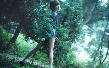 природа, девушка, поза