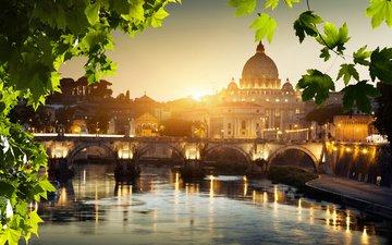 огни, отражение, мост, город, италия, рим