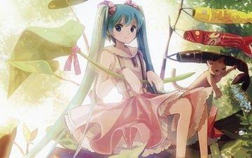 flowers, art, leaves, girl, cat, vocaloid, animal, tape, hatsune miku