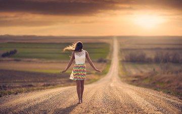 road, girl, space, bokeh