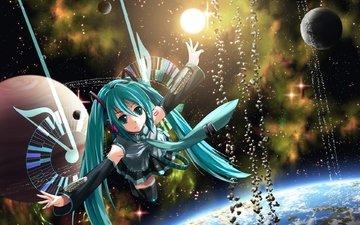 арт, земля, космос, девушка, планета, аниме, вокалоид, kouji, astral reverie, мику хацунэ