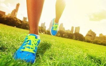 grass, sneakers, feet, sport, running, training