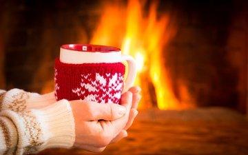 зима, кофе, камин, чашка, горячий, кубок, миленькая, огненная, варежка
