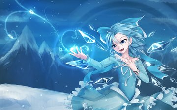 "art, girl, snowflakes, wings, cold, crystals, disney, frozen, cirno, sen ya, ""cold heart"", touhou"