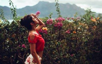 цветы, девушка, грудь, flower power, дэвид olkarny