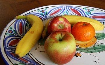 фрукты, яблоки, мандарин, банан, блюдо