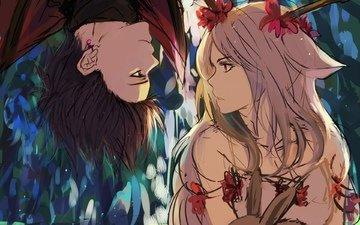 flowers, art, girl, guy, rabbit, animal, shackle