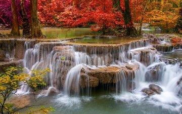 вода, река, природа, камни, водопад, осень, красиво, каскады