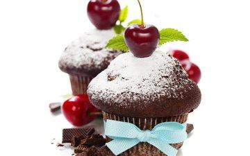 ягода, черешня, вишня, шоколад, бант, кекс, маффин
