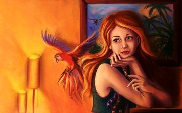 свет, арт, девушка, картина, взгляд, рыжая, комната, попугай