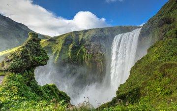 водопад, поток, исландия, утесы, скоугафосс, водопад скоугафосс