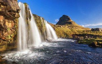 небо, горы, скалы, водопад, исландия