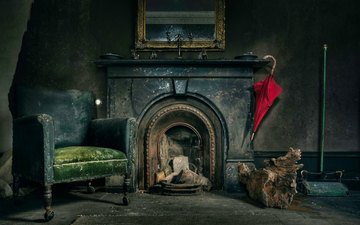 umbrella, chair, fireplace, dominion