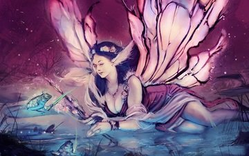 eyes, decoration, girl, dress, look, wings, fairy, frog, hair, face, painting, crown, legit