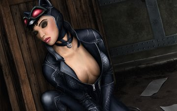 art, face, costume, cat woman, closed eyes, catwoman, selina