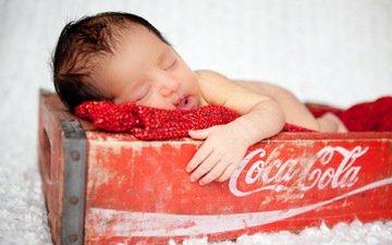 настроение, сон, дети, волосы, лицо, младенец, ящик, кока кола