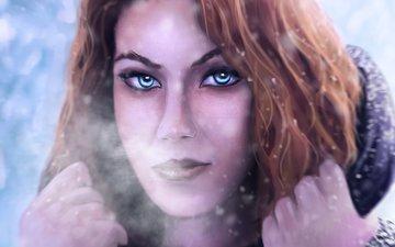 арт, снег, зима, девушка, взгляд, рыжая, холод, волосы, лицо, руки, голубые глаза, живопись, капюшон