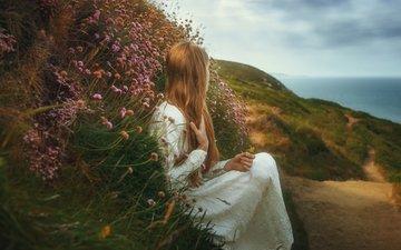 девушка, тропа, цветочки, tj drysdale, lost dreams