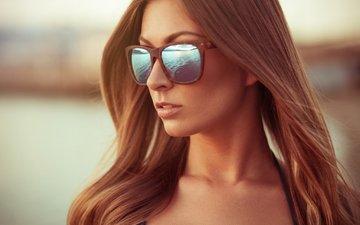 девушка, отражение, портрет, очки, рыжая, волосы, шатенка, gевочка, christina lange, модел
